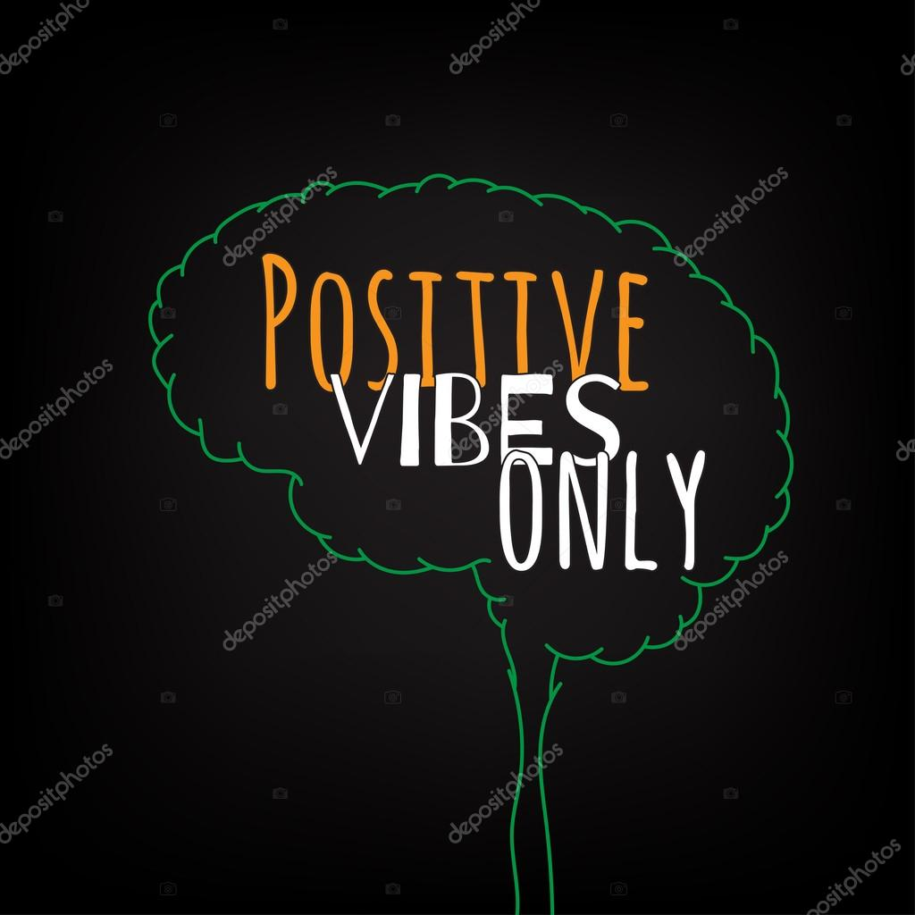 positive vibes only motivation clever ideas in the brain poster text lettering of an inspirational saying quote typographical poster template