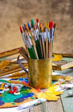 "Картина, постер, плакат, фотообои ""краски и кисти картина пейзаж живопись все"", артикул 90823832"