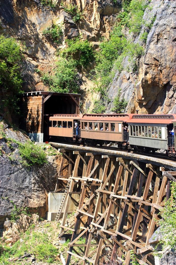 Train entering a tunnel through old bridge