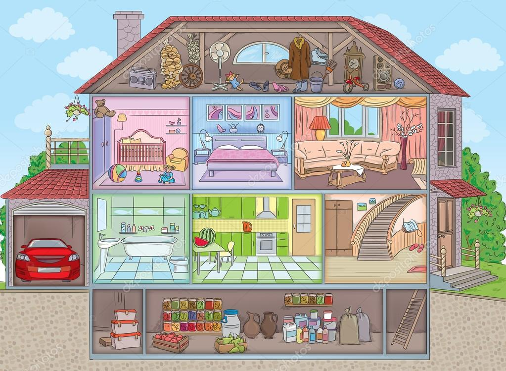 Inside the house stock vector pinkkoala 72180643 for Two story house drawing