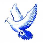 Fényképek ingyenes repülő fehér galamb elszigetelt, akvarell illusztráció