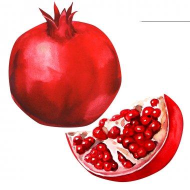 Ripe pomegranate fruit isolated