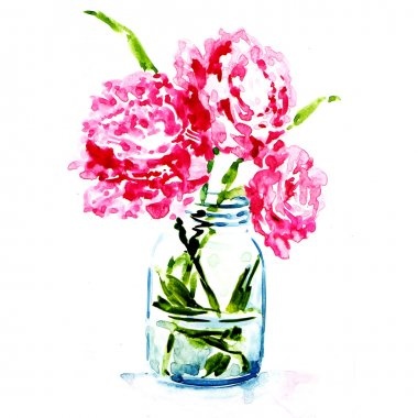 Three pink peonies in vase isolated