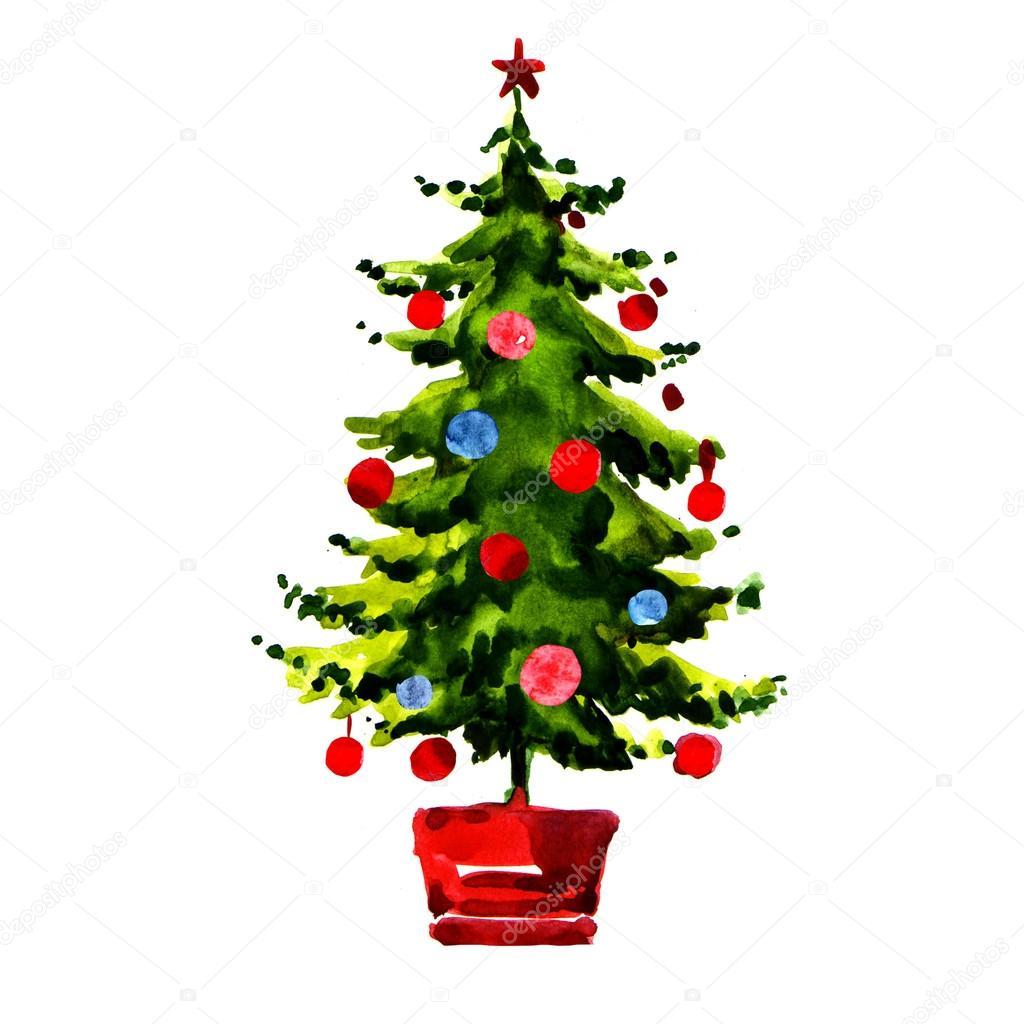 weihnachtsbaum mit kugeln isoliert stockfoto deslns 55534213. Black Bedroom Furniture Sets. Home Design Ideas