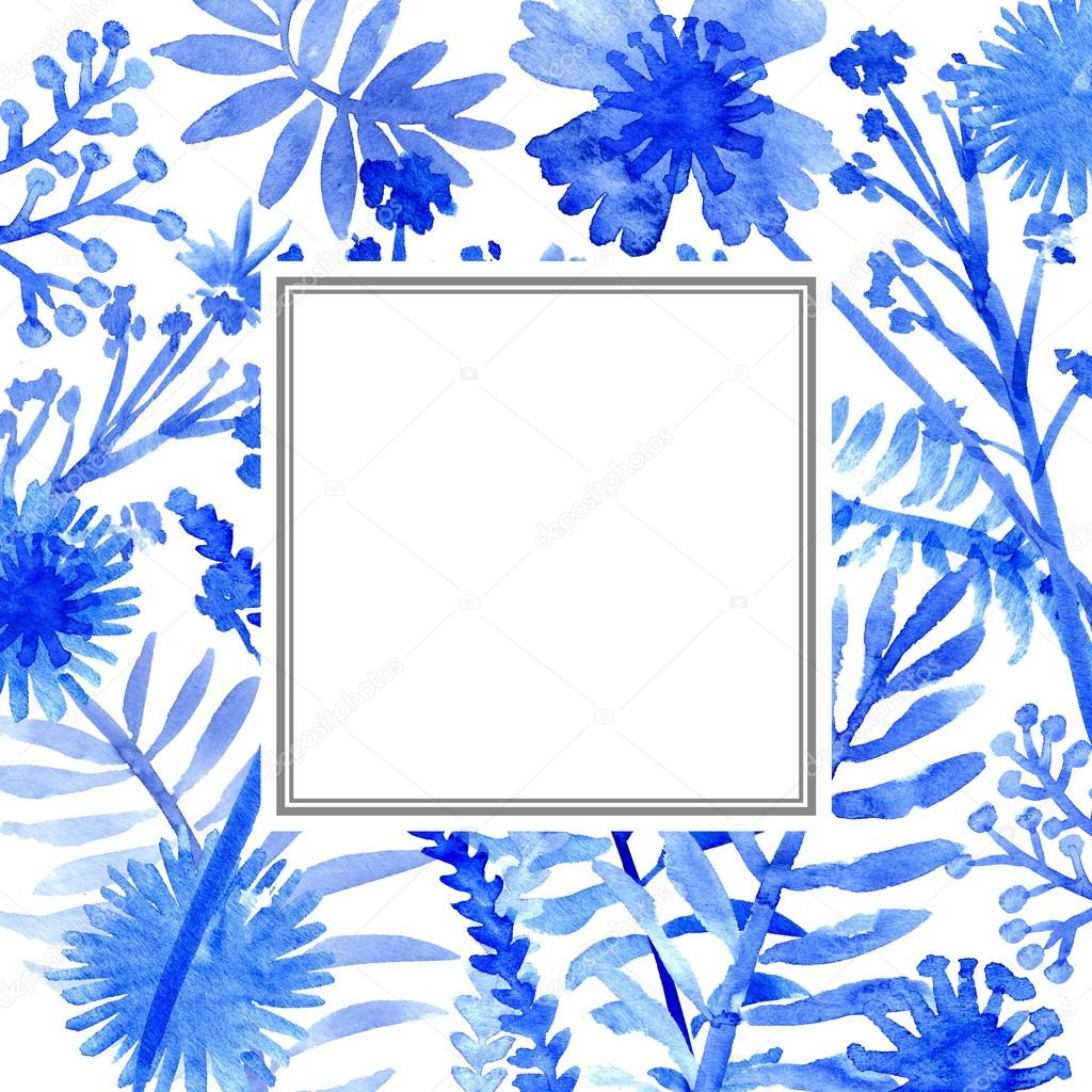 Watercolor flowers frame template card