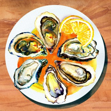 Oysters with lemon on white plate and wood table, watercolor