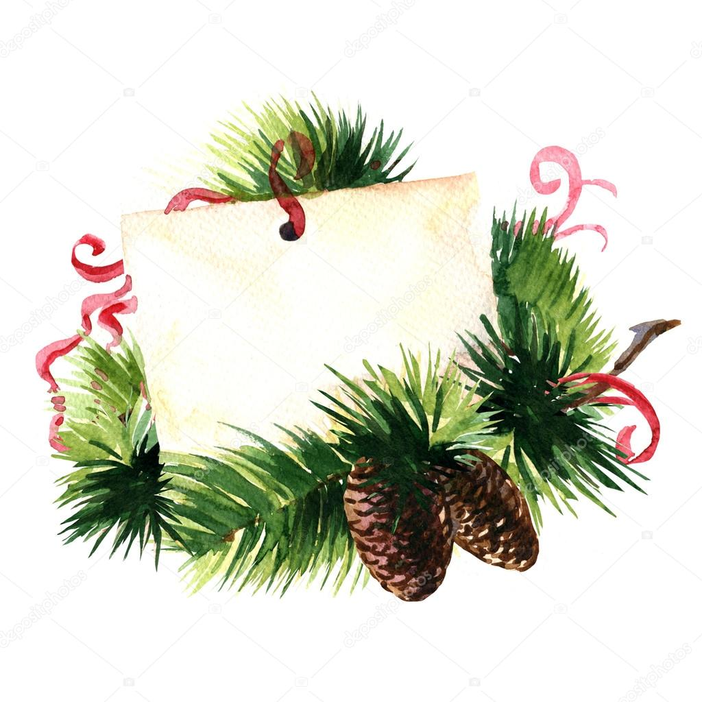 Christmas Greetings Greeting Card With Pine Cone And Red Ribbon