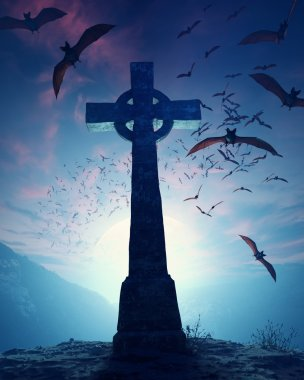 Celtic Cross with swarm of bats
