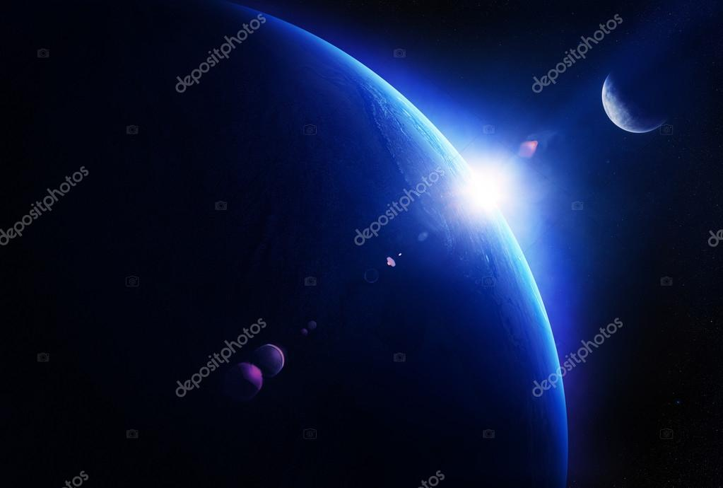 Earth sunrise with moon in space