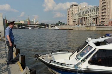 Water police patrol boat on the Moscow River.