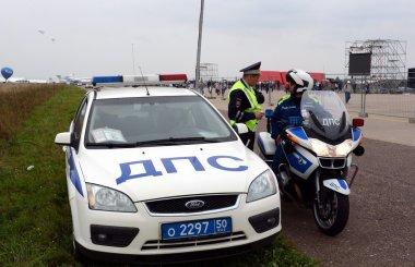 Inspectors dorozhno-patrol service of police on the road.