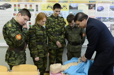 Training of first aid in the cadet corps of the police.