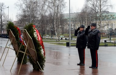 The ceremony of laying flowers and wreaths at the Tomb of the Unknown Soldier during the celebrations of the day of defender of the Fatherland.
