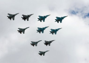 A group of fighter planes su-34, su-27 and SU-35S