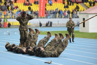 Special forces demonstrate training at  stadium