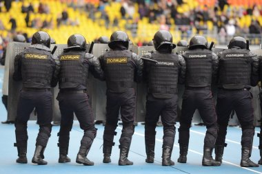 Police at the stadium.