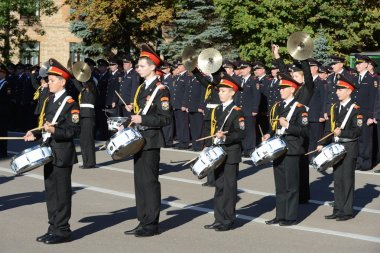 The students of the Moscow cadet corps of the police.