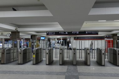 Turnstiles on Paveletsky train station Moscow