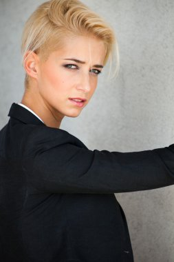 trendy short hair blonde woman