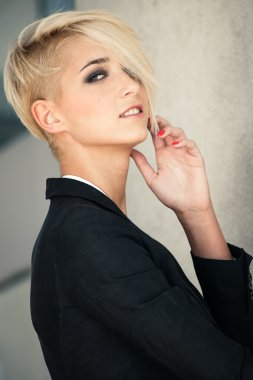 short hair blonde woman