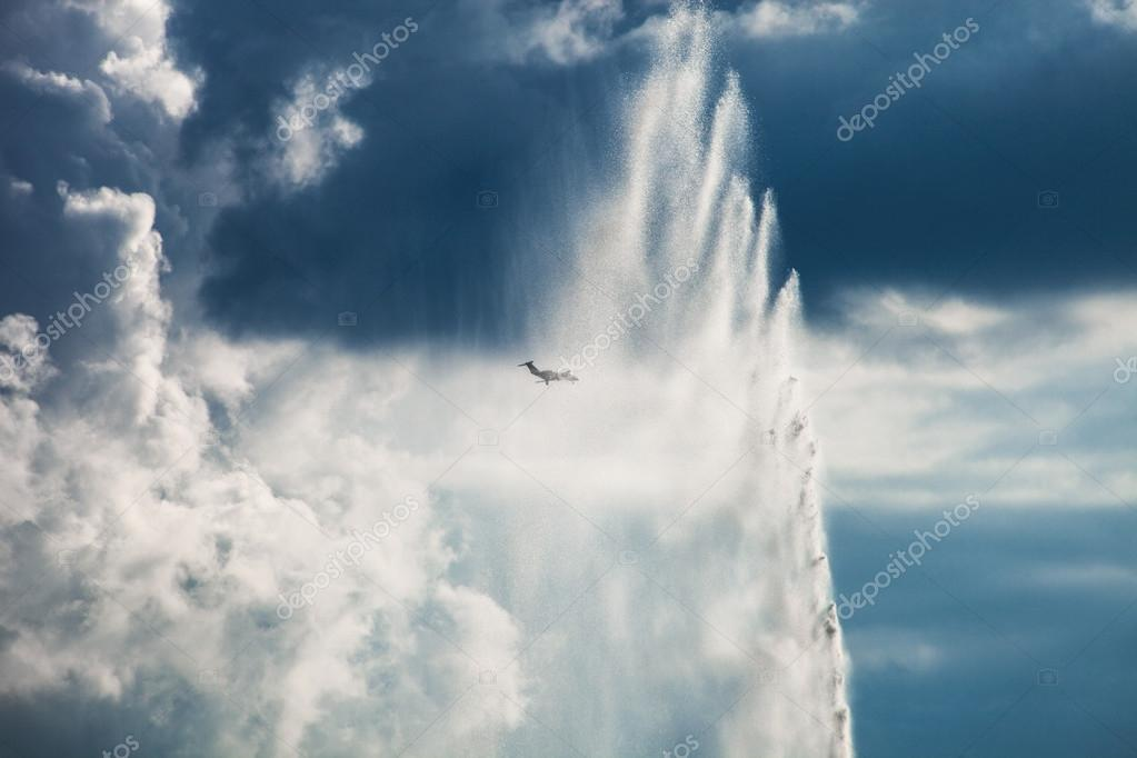 fountain and airplane