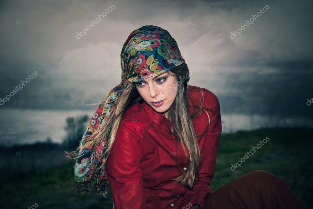 Gypsy style fashion u stock photo cokacoka