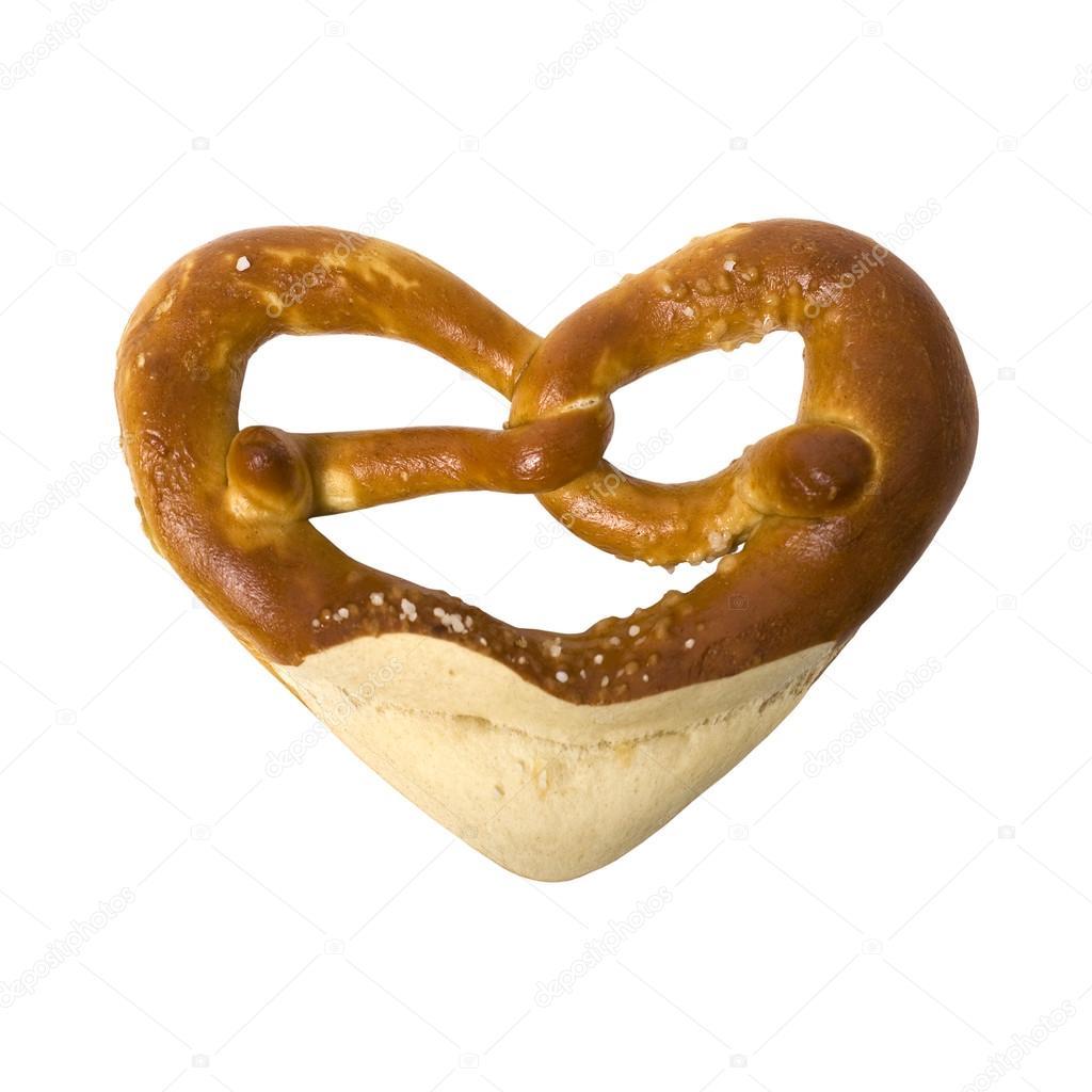german bavarian oktoberfest pretzel illustrated as heart stock