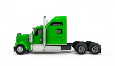 Lime green american truck