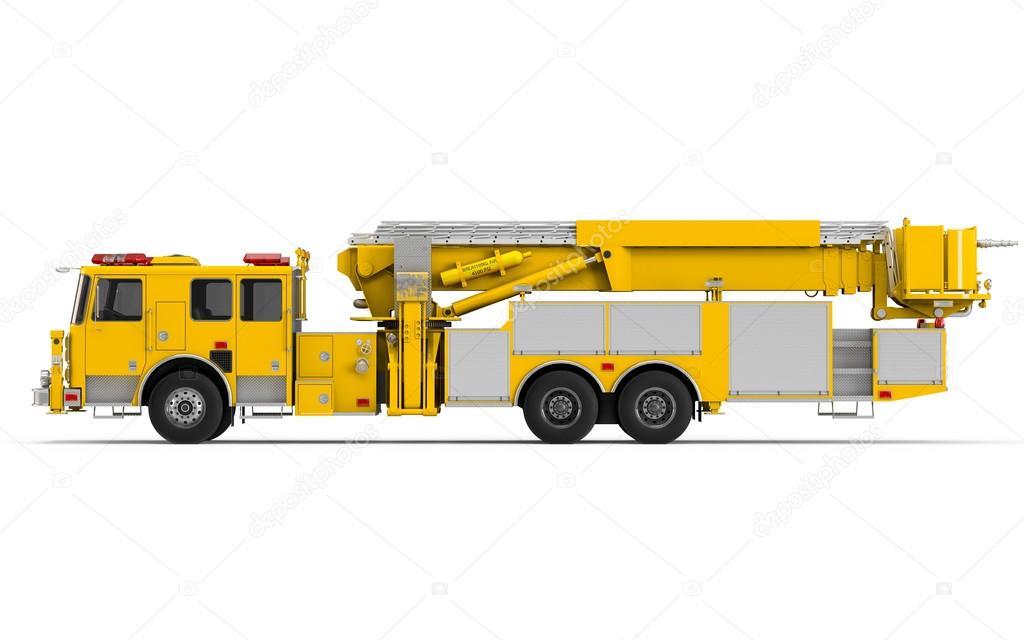 Vista de perfil izquierdo de camión de bomberos amarillo — Foto de ...