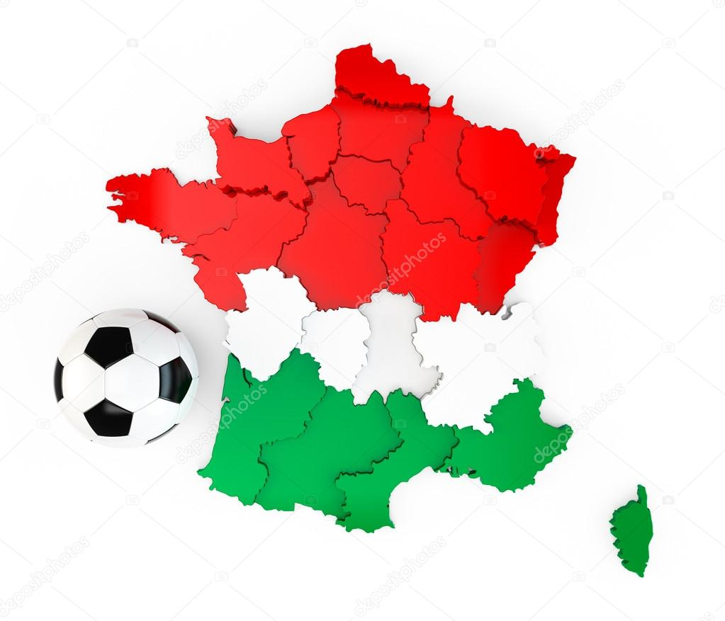 a soccer ball on a france map with a hungary hungarian flag