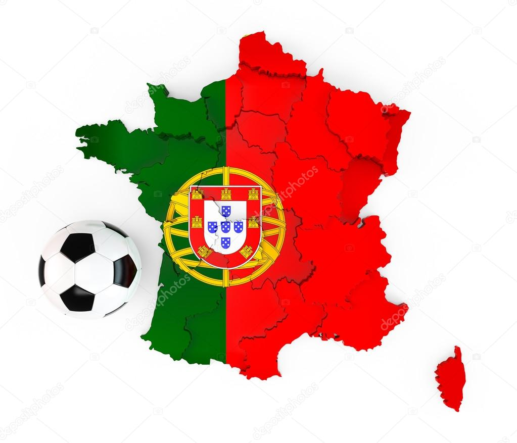 A Soccer Ball On A France Map With A Portugal Portuguese Flag - Portugal map flag
