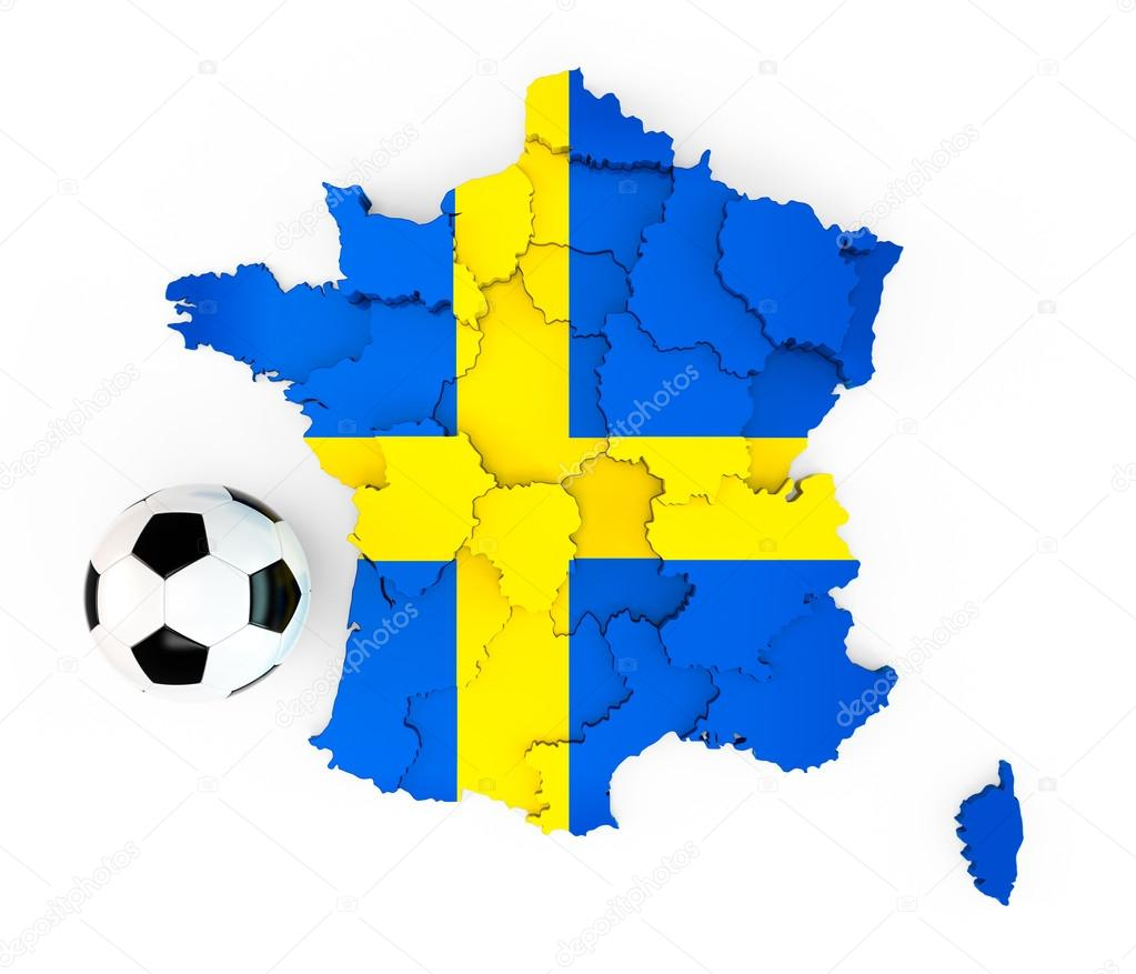 A Soccer Ball On A France Map With A Sweden Swedish Flag Stock - Sweden france map