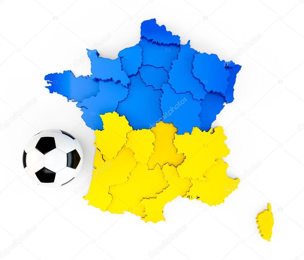 a soccer ball on a france map with a ukraine ua ukrainian flag