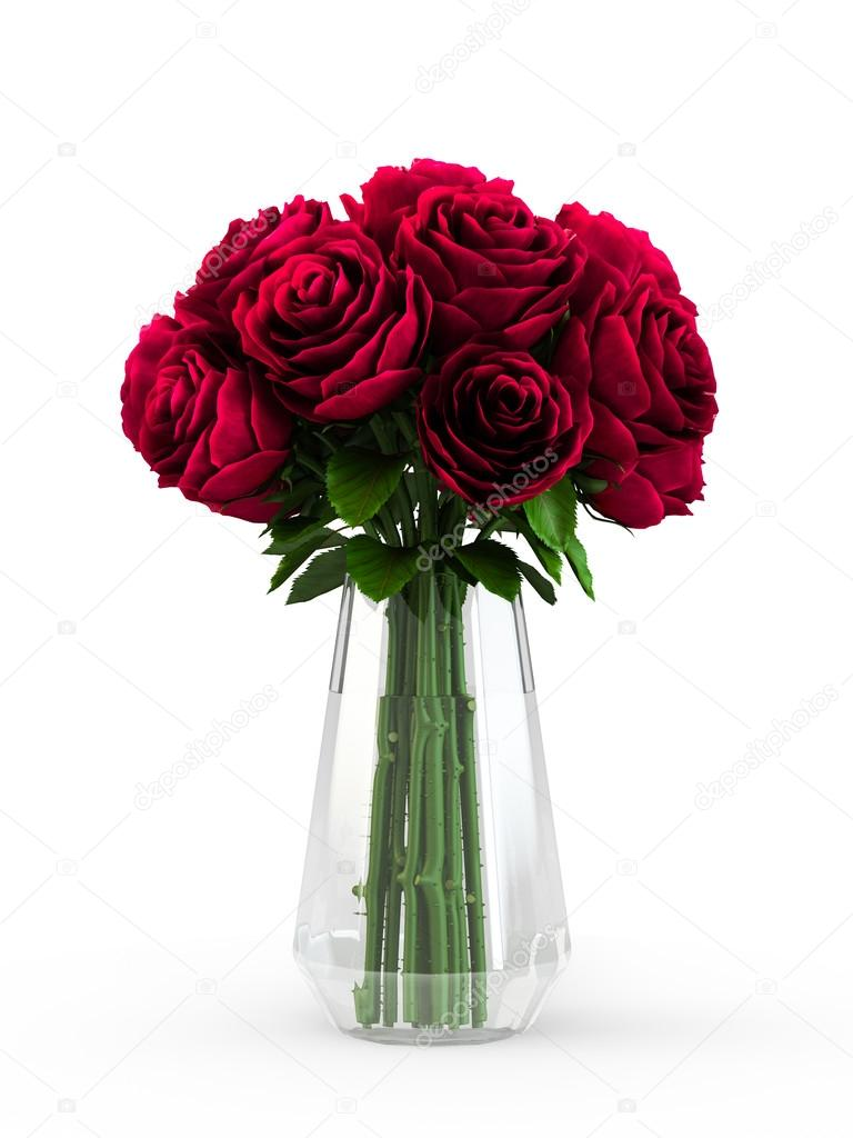 bouquet of blossoming dark red roses in transparent vase isolated on white background 3d. Black Bedroom Furniture Sets. Home Design Ideas