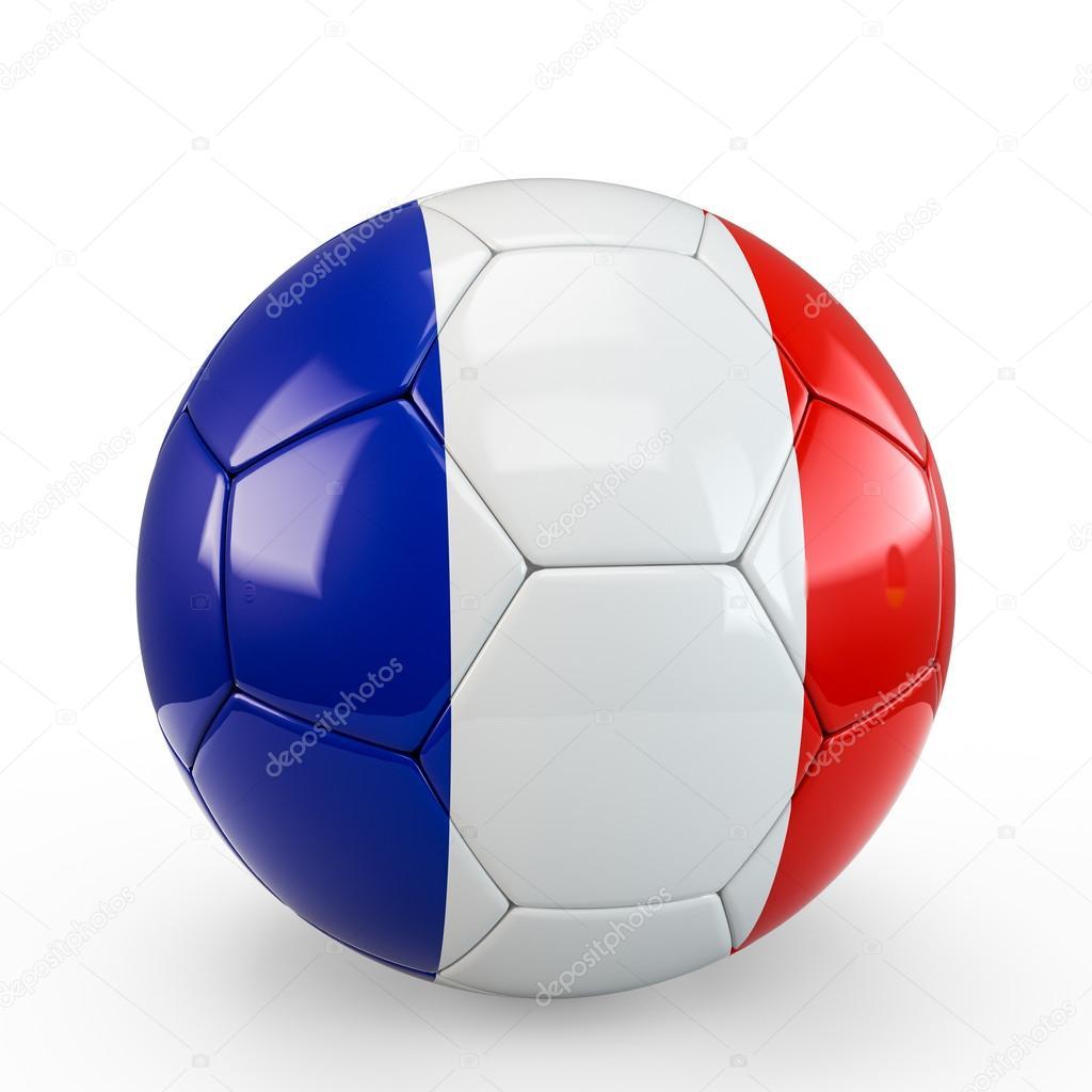 Футбольный мяч покрыты с Францией, французский флаг текстуры, изолированные  на белом фоне. 3D 4a36b854972
