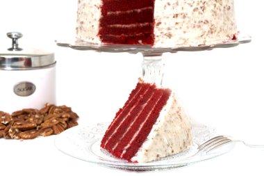 Slice of Red Velvet Cake Isolated