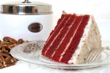 Slice of Red Velvet Cake Closeup