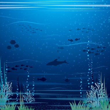 Beautiful Underwater Landscape. Vector Art