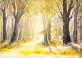 Forest watercolors painted