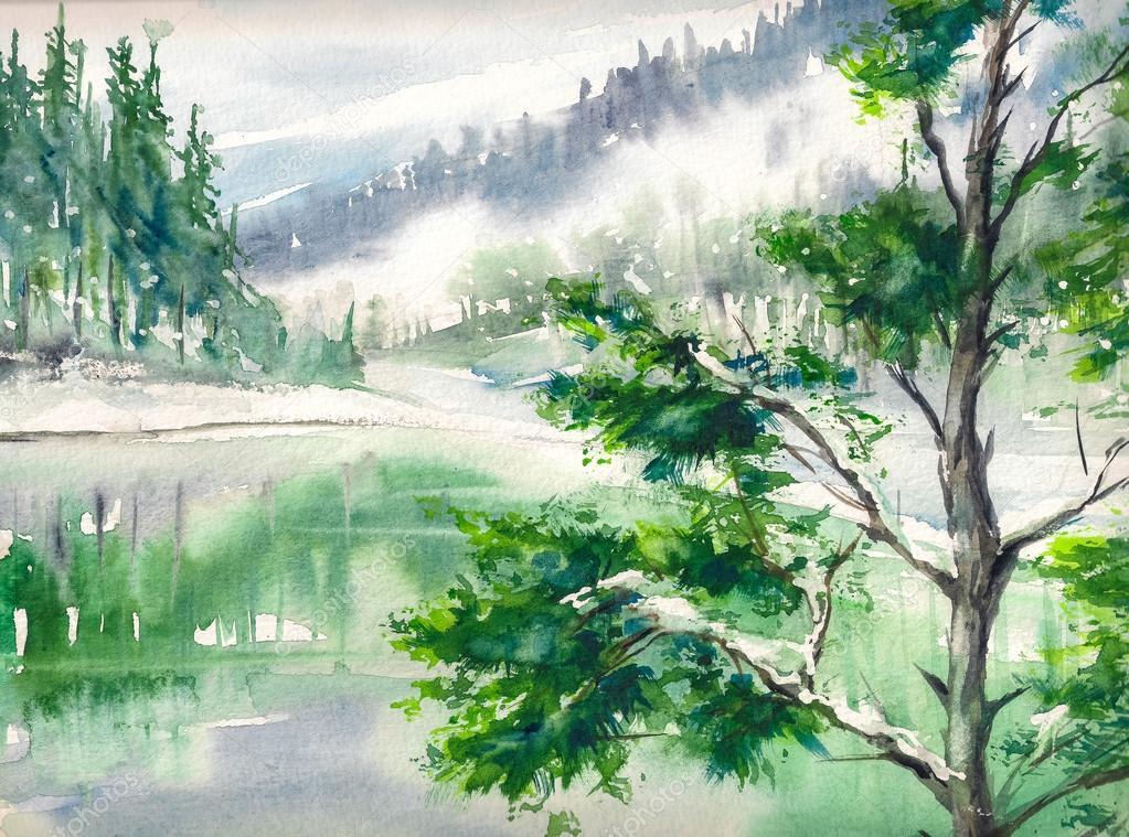 Lake watercolors painted