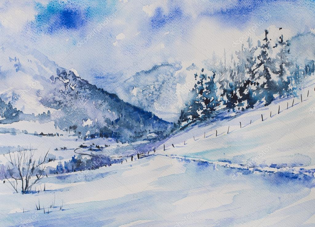 Winter watercolor painted