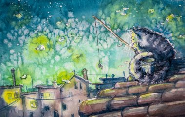 Cat watercolors painted