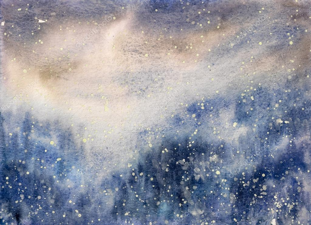 Snow watercolor painted