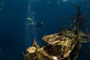 Free diver exploring the ship wreck