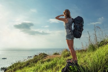 Lady hiker with backpack