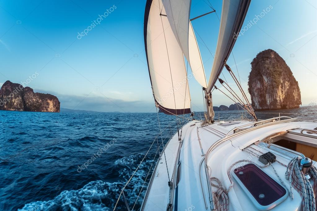 Sailing boat moving in the sea