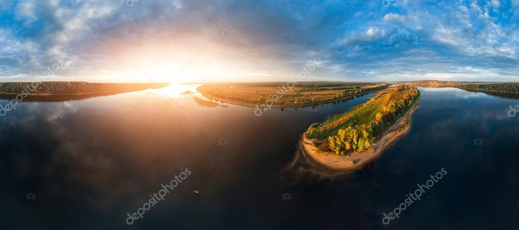 Aerial panorama of the river of Kama