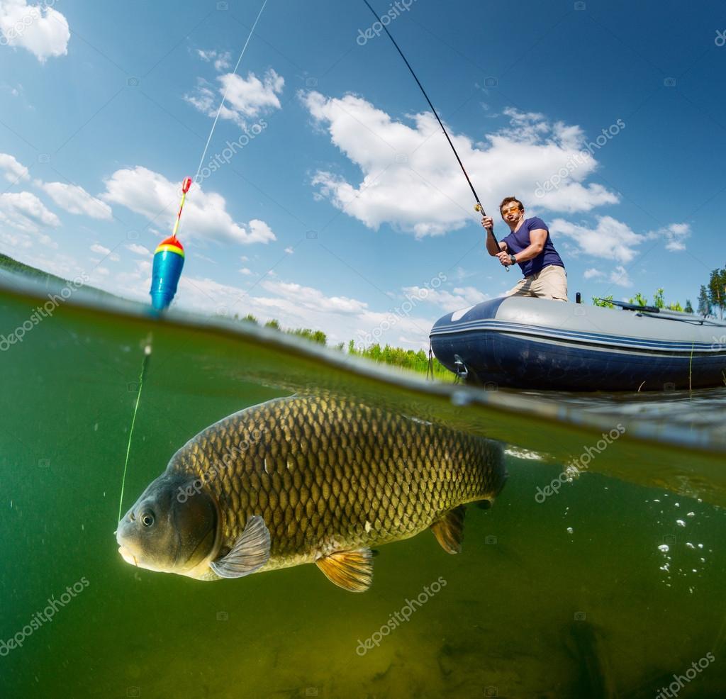 Split shot of the fisherman