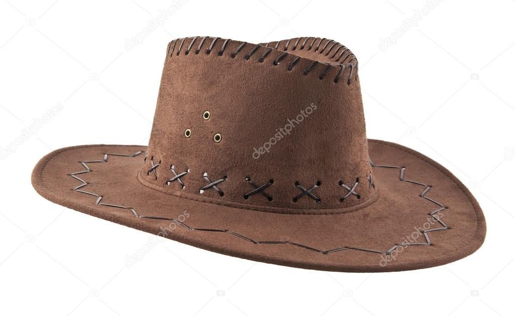 759fd1b2e7a59 Brown leather cowboy hat isolated on a white background — Photo by ...