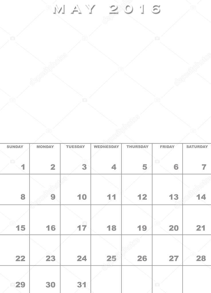 Plantilla de calendario de mayo de 2016 — Fotos de Stock ...